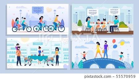 Family Daily Activities and Recreation Cartoon Set 55570959