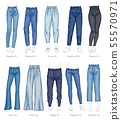 Set of female jeans models and their names sketch style 55570971
