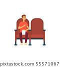 Single man with popcorn in cinema cartoon style 55571067