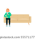 Single woman with beverage sitting on couch cartoon style 55571177