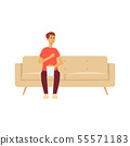 Single man sitting on couch with popcorn cartoon style 55571183