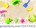 close up of sand toys kit on summer beach 55573332