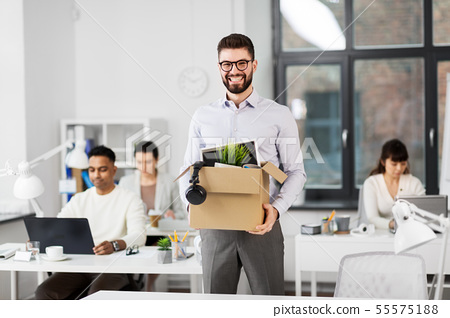 happy male office worker with personal stuff 55575188