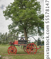 The old wooden fire truck on grass. Vintage wooden 55578147