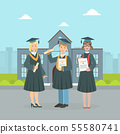Happy Graduate Students Wearing Gown and Cap Holding Diploma, Boys and Girls Celebrating Graduation 55580741