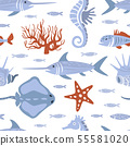 Sea Creatures Seamless Pattern, Underwater Life, Marine Fishes Design Element Can Be Used for 55581020