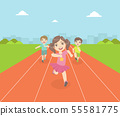 Boys and Girl Running Race Tracks of Stadium at Competition, Front View Vector Illustration 55581775