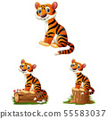 Cartoon tiger sitting on log 55583037
