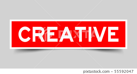 Label sticker in red square shape as word creative 55592047