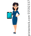 Young beautiful business woman in blue dress 55592337