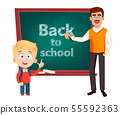 Teacher man cartoon character and cute schoolboy 55592363