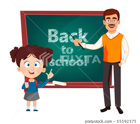 Teacher man cartoon character and cute schoolgirl