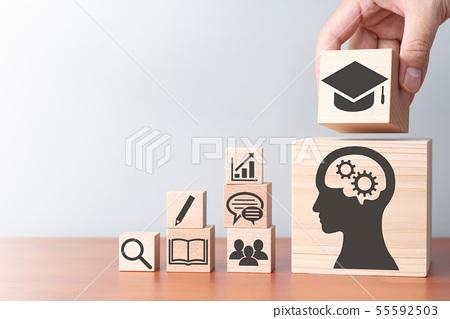 교육과 지식의 습득 이미지. 테이블 위에서 적목을 쌓을 손 올라간다. 55592503