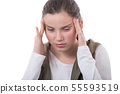young teenager has headache on white background 55593519
