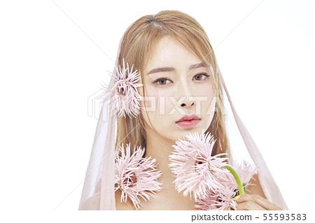 꽃,뷰티,젊은여자 55593583