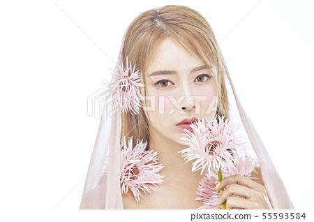 꽃,뷰티,젊은여자 55593584