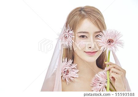 꽃,뷰티,젊은여자 55593588