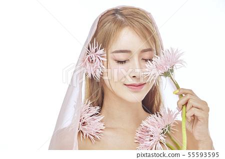 꽃,뷰티,젊은여자 55593595