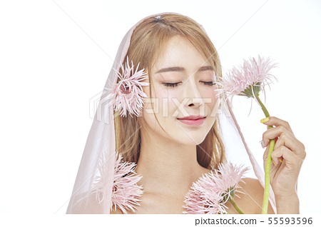 꽃,뷰티,젊은여자 55593596