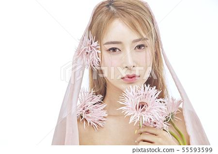 꽃,뷰티,젊은여자 55593599