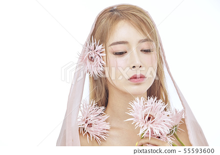 꽃,뷰티,젊은여자 55593600