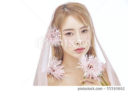 꽃,뷰티,젊은여자 55593602