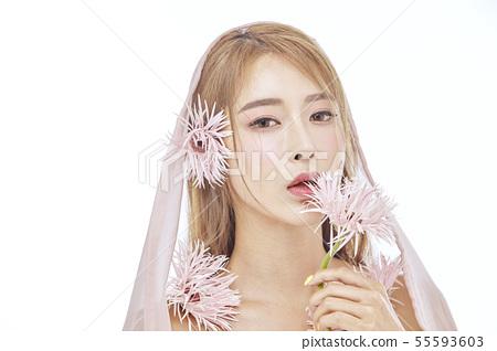 꽃,뷰티,젊은여자 55593603