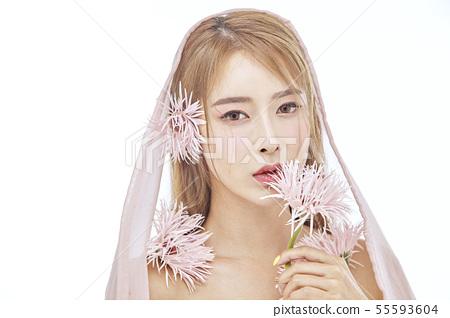 꽃,뷰티,젊은여자 55593604