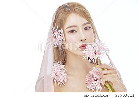 꽃,뷰티,젊은여자 55593611