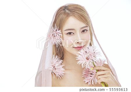 꽃,뷰티,젊은여자 55593613