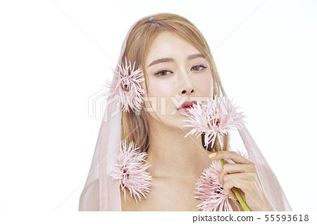 꽃,뷰티,젊은여자 55593618
