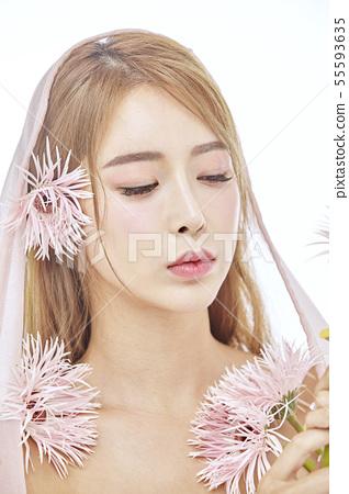 꽃,뷰티,젊은여자 55593635