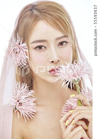 꽃,뷰티,젊은여자 55593637