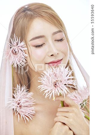 꽃,뷰티,젊은여자 55593640