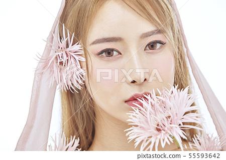 꽃,뷰티,젊은여자 55593642
