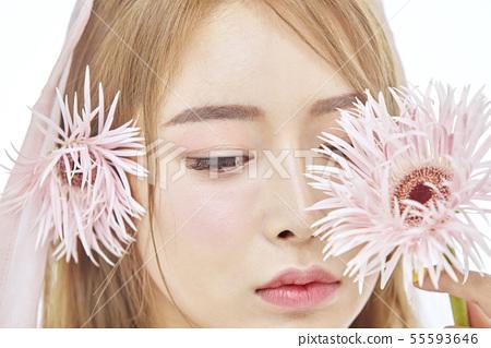 꽃,뷰티,젊은여자 55593646