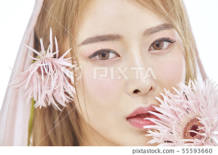 꽃,뷰티,젊은여자 55593660