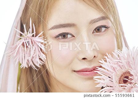 꽃,뷰티,젊은여자 55593661