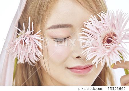 꽃,뷰티,젊은여자 55593662