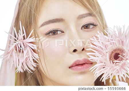 꽃,뷰티,젊은여자 55593666