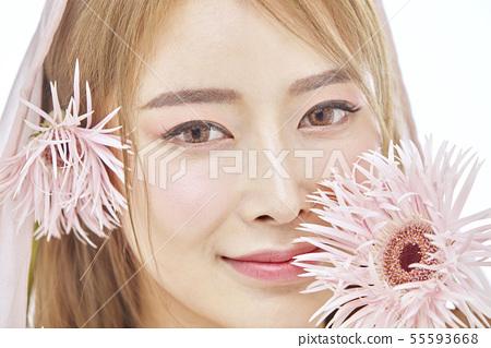 꽃,뷰티,젊은여자 55593668