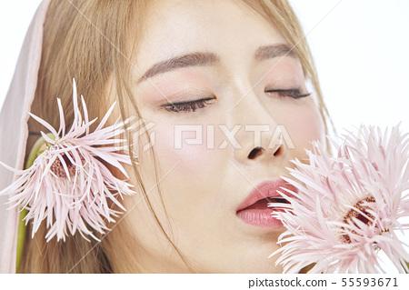 꽃,뷰티,젊은여자 55593671
