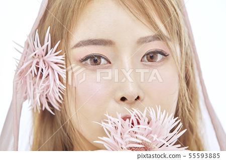 꽃,뷰티,젊은여자 55593885