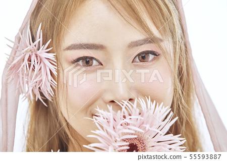 꽃,뷰티,젊은여자 55593887
