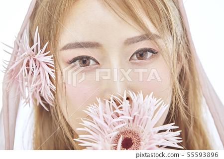 꽃,뷰티,젊은여자 55593896