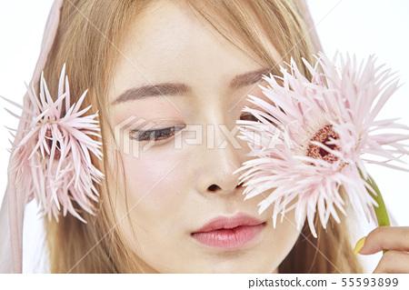 꽃,뷰티,젊은여자 55593899