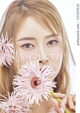 꽃,뷰티,젊은여자 55593916