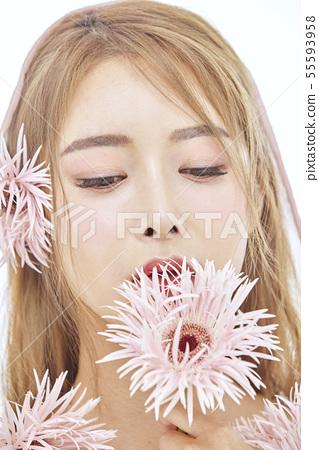 꽃,뷰티,젊은여자 55593958