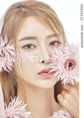 꽃,뷰티,젊은여자 55593960
