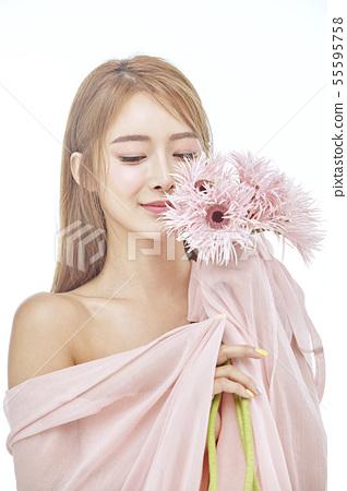 꽃,뷰티,젊은여자 55595758